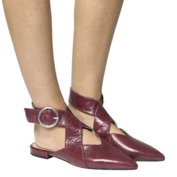 Office Falsetto Cross Pattern Point Flats Burgundy Leather - Flats