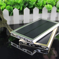 12000mah Ultra-Thin Metal Solar Power Bank External Battery Dual USB Charger for iPhone, iPad and Tablet