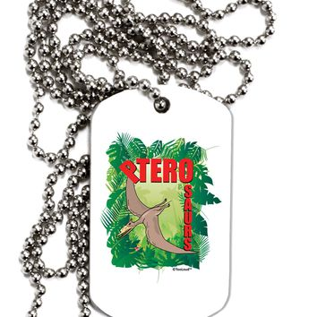 Pterosaurs - With Name Adult Dog Tag Chain Necklace by TooLoud