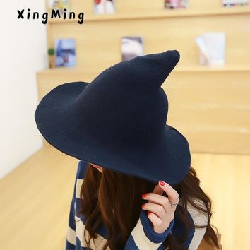 Along the sheep wool cap knitting fisherman hat qiu dong Female fashion witch pointed basin bucket hat accessories