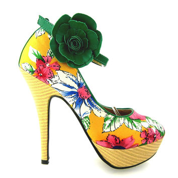 LF30425 New Ladies Floral Ankle Strap Buckle Wooden High Heel Platform Pumps Party Shoes