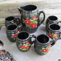 Rare Nelson McCoy Sanitary Stoneware Pitcher & 6 Mugs. Rare Black w/ Cold Paint