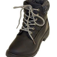 Black Quilted Hiking Boots With Knit Collar