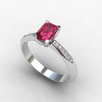 Pink Tourmaline engagement ring, White Gold, Emerald cut, tourmaline, Solitaire, Engagement ring, Diamond, pink