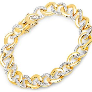 0.64ct Genuine White Diamond 14kt Gold-Plated .925 Sterling Silver Bracelet