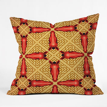 Chobopop Horse Pattern Red Outdoor Throw Pillow