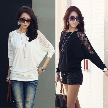 Hot Women's Batwing Top Lace Loose Blouse T-Shirt Top Long Sleeve = 1919920964