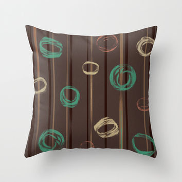 Sketch Circles Jagged Stripes Modern Brown Green Peach Throw Pillow by Natural Design