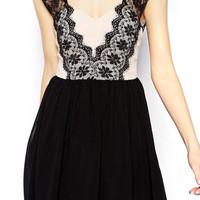 Black Floral Lace Strap Mini Dress