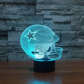 7 Colors LED Lamp Dallas Cowboys 3D Light Football Helmet Night Light USB Table Desk Lampara Bedroom Reading Sleeping Home Decor