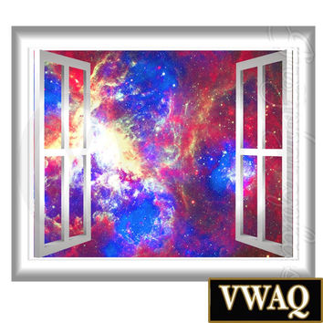 Galaxy Wall Decals Stars Outer Space Graphics Peel and Stick 3D Window Frame Mural VWAQ® GJ93