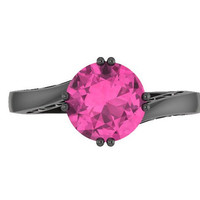 Elegance Collection Engagement Ring in 14K Black Gold Wedding Ring with 7mm Round Pink Sapphire Center  - V1093