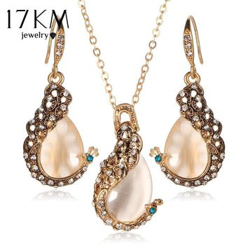 17KM Pendientes Austrian Crystal Circle Opal Peacock Jewelry Sets Peacocks Necklace Drop Earrings Set For Women Gift joyeria
