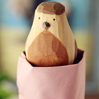 Hand-Carved Wooden Cute Animal Windproof Rain and Parasol Folding Women Umbrella