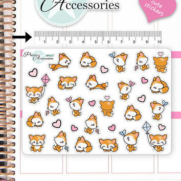 Kawaii Fox Stickers Cute Fox Stickers Fox Stickers Planner Stickers Erin Condren Functional Stickers Decorative Stickers NR657