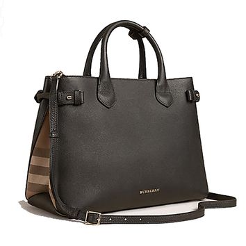 Tote Bag Handbag Authentic Burberry The Medium Banner in Leather and House Check Black Item 39589781