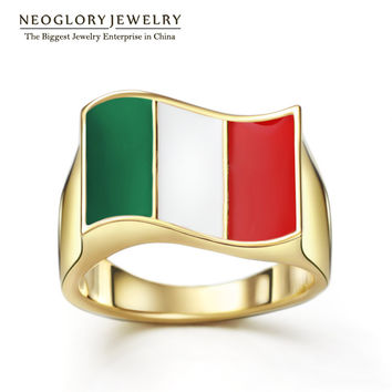 Neoglory 14K Gold Plated Zinc Alloy Stoving Varnish Italy Flag Sporty Rings for Women Men Casual Jewelry 2016 New Arrival CLE