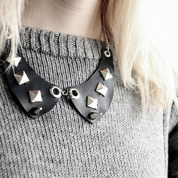Studded Leather Necklace