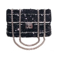 Chanel Black and Silver Runway Sequin Classic Flap Shoulder Bag