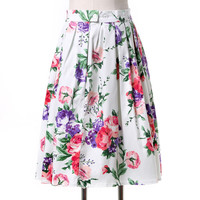 Women midi skirt 2016 Grace Karin Runway Vintage Rockabilly Skirts Pinup 50S 60S Cotton polka dot floral pattern skirts summer