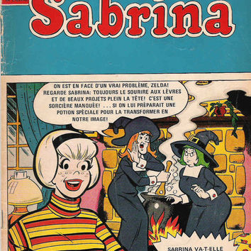 Vintage 1970's French Sabrina the Teenage Witch Comics, No 2- French Comics Teenagers Archies French Book Vintage Teenager Sorcery