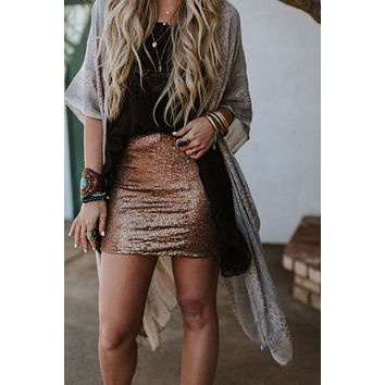 Aurora Sequined Mini Skirt - Copper