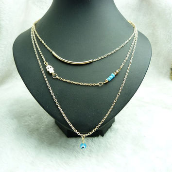 PERSONALITY 3 LAYERS CHAIN HAMSA FATIMA HAND EVIL EYE TURQUOISE NECKLACE Accessoires Homme Statement Necklace Jewelry n10