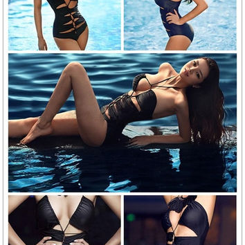 New Women Sexy Hollow Halter Swimsuit Swimwear One-Piece Monokini Bikini Black
