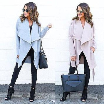 2018 NEW Women's Lady Slim Long Coat Jacket Windbreaker Parka Outwear Turn Down Collor Cardigan