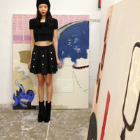 Black Skater Skirt with Holographic Beads