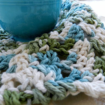 Dishcloth round crocheted cotton teal green off white