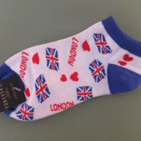 NWT Forever 21 Womens LONDON ENGLAND Ankle Socks One Size BRITIAN BRITISH Socks