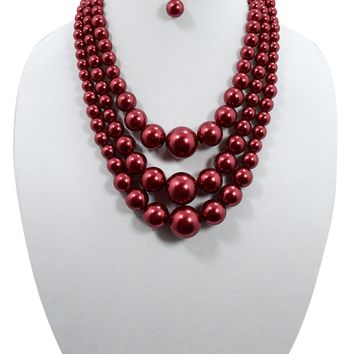 Mod Multi Strand Gradual Red Imitation Pearl Chunky Statement Necklace