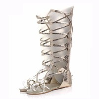 Sexy Roman Lace Up Hollow Out Strappy Flat Knee High Mid Calf Gladiator Sandals