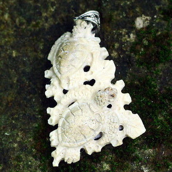"Hand Carved turtle 2.4"" Natural Deer Antler PendantSterling Silver 925 AP1539"