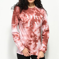Obey See Clearly Dusty Rose Tie Dye Long Sleeve T-Shirt