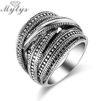 Mytys New Design Antique Jewelry Chunky Big Ring Retro Style Dark Grey Metro Punk Ring R1827