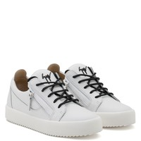 Giuseppe Zanotti Gz Frankie White Calfskin Leather Low-top Sneaker With Black Logo - Best Deal Online