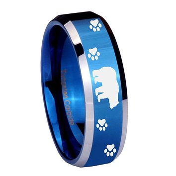 10mm Bear and Paw Beveled Edges Blue 2 Tone Tungsten Carbide Men's Wedding Band