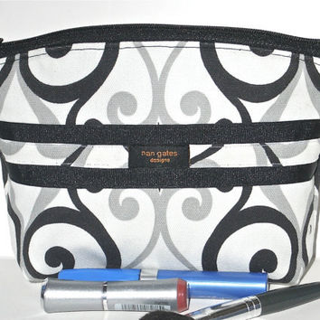 OOAK Makeup/Cosmetic Bag/Zippered Pouch Flat-Bottomed Round Top Black Grey Swirl