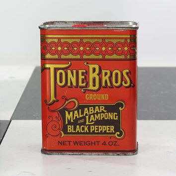 Tone Bros Spice Tin . Ground Malabar and Lampong Pepper . Bright Colorful Container Shiny Gold Accents . Vintage Collectible Metal Tin . A