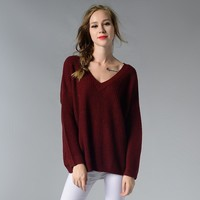 Knit Tops V-neck Sexy Sweater [188222930970]