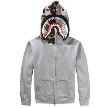 Bape Aape Shark Hoodies Men's plus velvet sweater Men's and women's lovers hooded jacket Gray