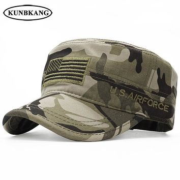 Trendy Winter Jacket New Arrive USA Flag Camo Flat Cap Army Tactical Dad Hat Men Baseball Cap US Air Force Embroidery Cotton Camouflage Visor Sun Hat AT_92_12