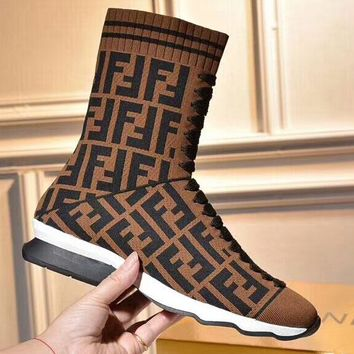 FENDI 2018 New Knitted Stretch Boots Flat Heel Thick Medium Socks Boots F-OMDP-GD coffee