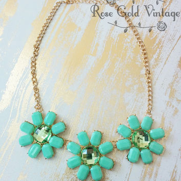 Mint Green Floral Statement Necklace