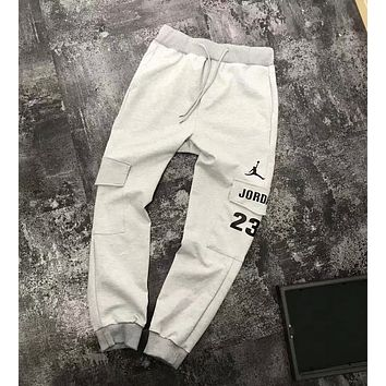 Nike Jordan Popular Women Men Casual Logo Print Long Sports Pants Trousers Sweatpants Grey I-XMCP-YC