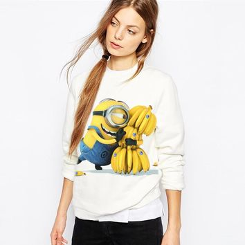2017 Casual Hoody Kawaii Clothes Women Hoodies Sweatshirts Full Sleeve Cute Cartoon Minion Print White Polerones Mujer Sudaderas