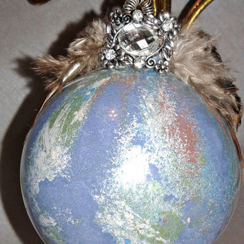 Handmade Marbleized Glass Ornament, Vintage Style Holiday Accent, Keepsake Christmas Ball, Pheasant Feathers and Rhinestone Embellishments