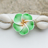 Green Delight Flower Shells Hemp Anklet girls womens handmade jewelry hippie
